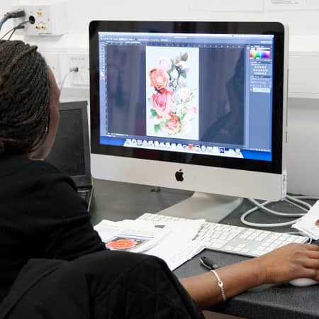 Student working on a digital textile design on Photoshop during a short course. Photograph: Spine Photographic.