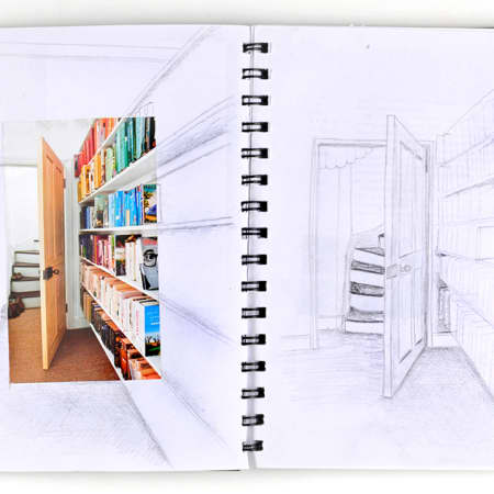 Perspective drawing made in a sketchbook during an interior design short course. Photograph courtesy UAL Short Courses.