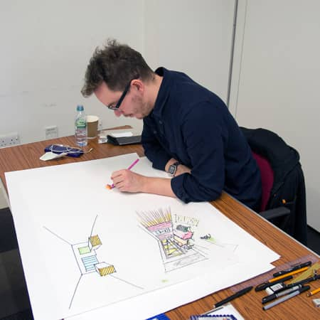 Student working on a freehand perspective drawing during a short course. Photograph: Jasmin Woolley-Butler.