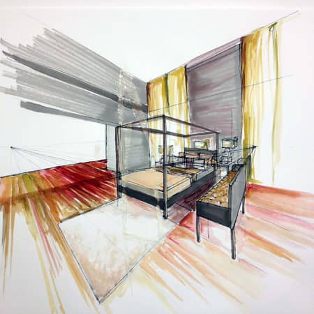 Freehand perspective drawing of an interior space made during a short course. Photograph courtesy UAL Short Courses.