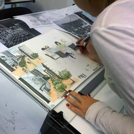 Student working on practical exercise during Designing for the Public Realm. Photograph courtesy UAL Short Courses.