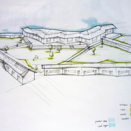 Rendering of a landscape architecture design created during a short course. Photograph courtesy UAL Short Courses.