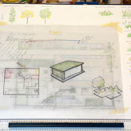 Hand drawn designs for an outside space.