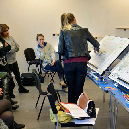 Student presenting work during an interior design short course. Photograph: Lisa Hall.