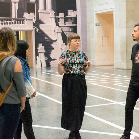 Short course students on an art gallery visit during The Art of Self Promotion. Photograph: Jasmin Woolley-Butler.