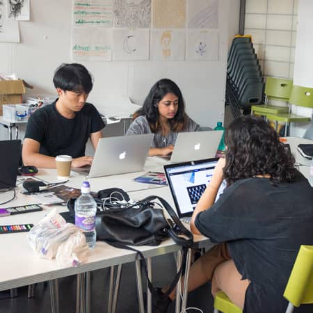 Short course students working on laptops during Graphic Design-Experience Industry. Photograph: Jasmin Woolley-Butler.