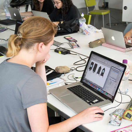 Short course students working on industry design brief during a graphic design short course. Photograph: Jasmin Woolley-Butler.