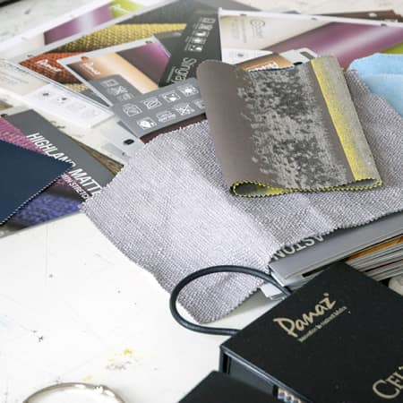 Industry textile and surface material samples used during Hotel Interior Design: An Introduction. Photograph: Jasmin Woolley-Butler.
