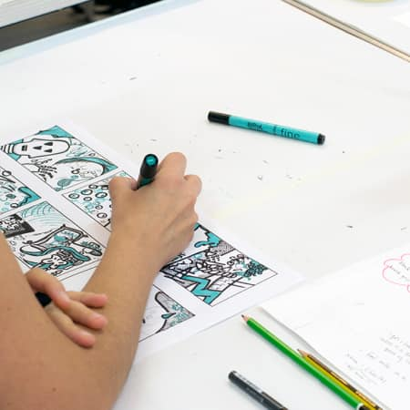 Short course student working on project during Illustration. Photograph: Jasmin Woolley-Butler.
