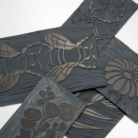 Lino-cuts created by short course students during Illustration - Drawn to Digital. Photograph: Jasmin Woolley-Butler.