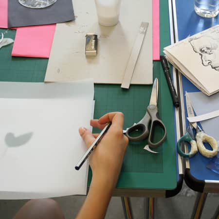 Young person working on illustration project during a short course. Photograph: Lisa Hall.