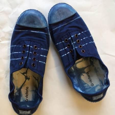 Shoes made during the short course Indigo Shibori. Photograph: Lara Mantell