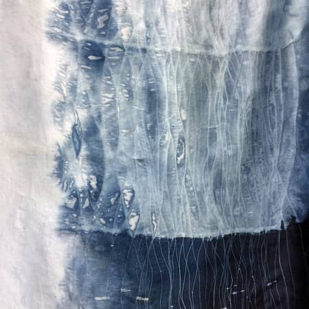 Fabric sample made by short course student using natural dyes. Photograph: Lara Mantell.
