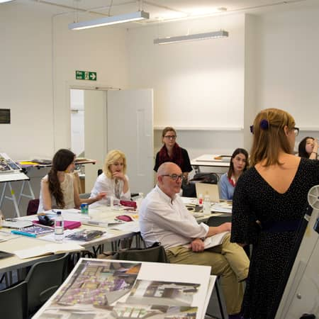 Short course student presenting her final project during Interior Decoration and Styling. Photograph: Jasmin Woolley-Butler.