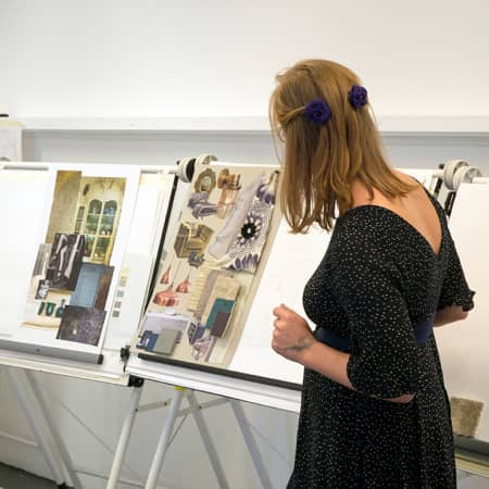 Student presenting her project to the class during an interior design short course. Photograph: Jasmin Woolley-Butler.