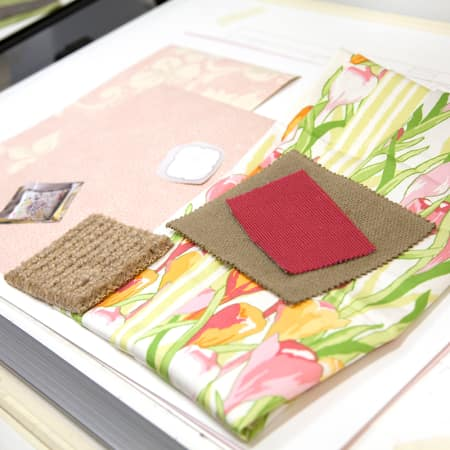 Sample board of current fabric trends created by a short course student. Photograph: Spine Photographic.