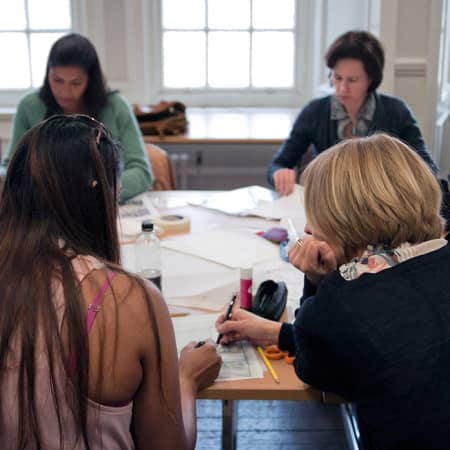 Students taking notes during Starting an Interior Design Business. Photograph: Lucy Campbell.