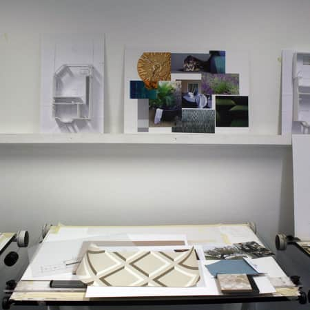 Presentation materials prepared by short course students in the Interior Design Studio. Photograph courtesy UAL Short Courses.