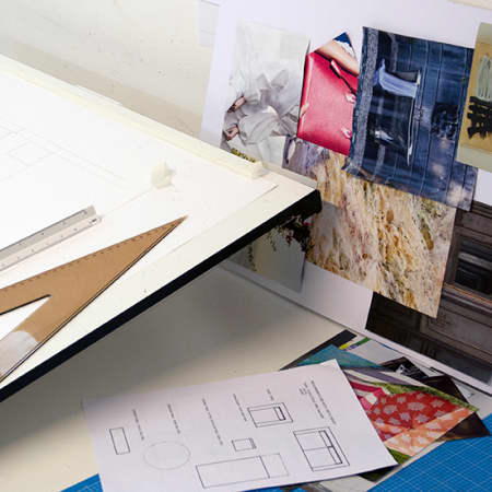 Mood board and technical drawings created by a student on Introduction to Interior Design. Photograph: Jasmin Woolley-Butler.