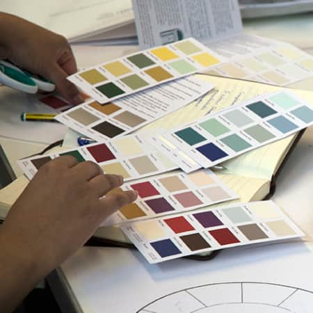 Student creating colour schemes during Introduction to Interior Design. Photograph: Jasmin Woolley-Butler.