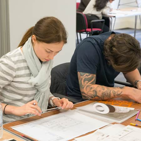 Short course students working on plans during Starting an Interior Design Business. Photograph: Jasmin Woolley-Butler.
