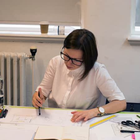 Short course student working on lighting plan during Lighting for Residential Interiors. Photograph: Jasmin Woolley-Butler.
