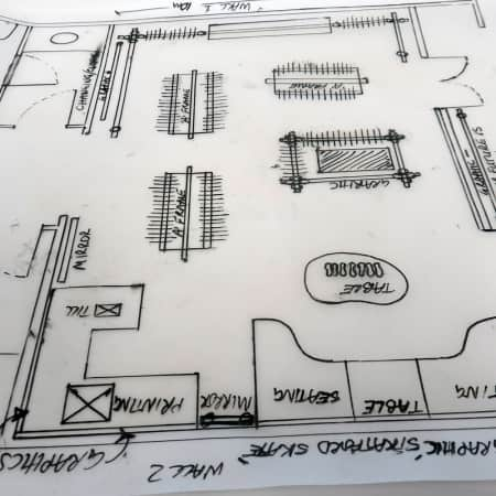 Technical drawing of a plan created by a short course student. Photograph: Sarah Birt.