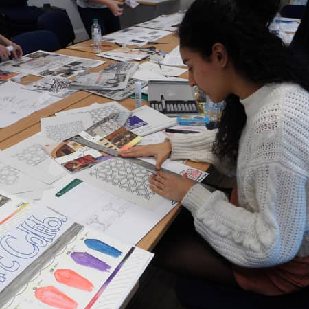 Student working on practical exercise during Designing Pop Up Shops and Events. Photograph: Sarah Birt.