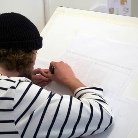 Short course student working on drafting skills during Technical Drawing for Interior Design. Photograph: Jasmin Woolley-Butler.