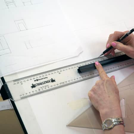Short course student drawing sections, plans and elevations during Technical Drawing for Interior Design. Photograph: Jasmin Woolley-Butler.