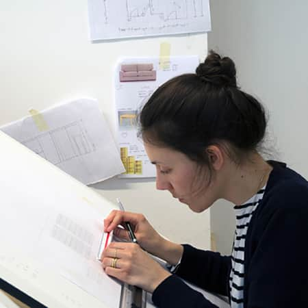 Student working in the Interior Design Studio during Technical Drawing for Interior Design. Photograph: Jasmin Woolley-Butler.