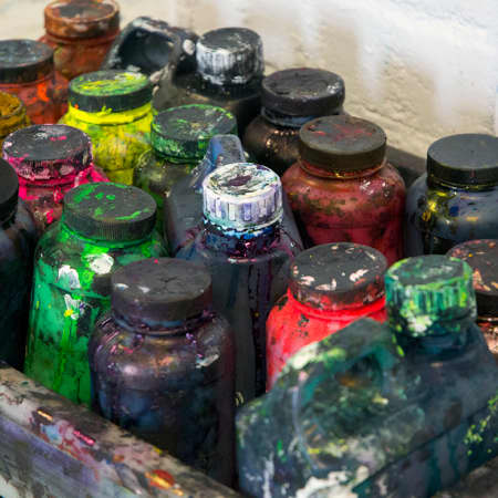 Selection of fabric inks used during Screen Printing Repeat Patterns. Photograph: Jasmin Woolley-Butler.