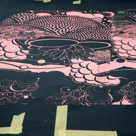 Printed fabric created by a short course student during Textile Print Design. Photograph: Jasmin Woolley-Butler.