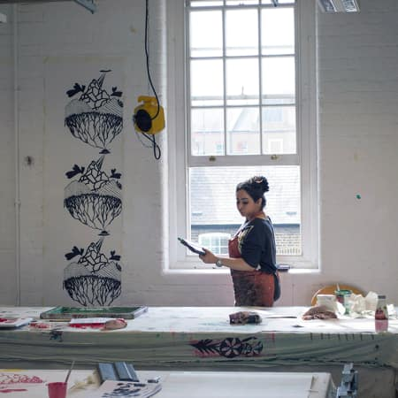 Short course student working in the textile workshop during Wallpaper Print and Design. Photograph: Faye McNulty.