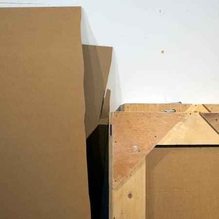 Packing boxes and materials used by art handling students.