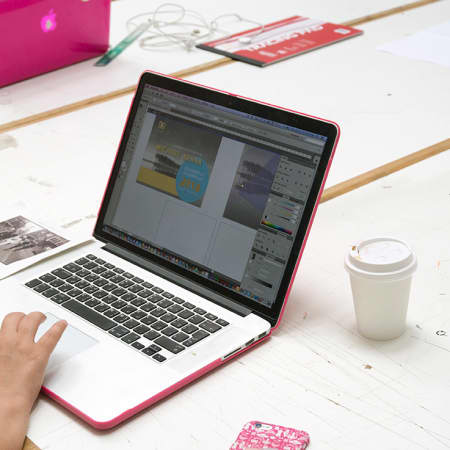 Digital design student working on a project on her laptop. Photograph: Jasmin Woolley-Butler.