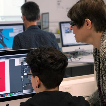 Student in the Mac suite during Photoshop, Illustrator and Photoshop short course.