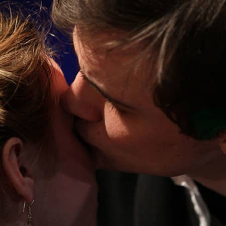 Man and woman kissing, Midsummer Night's Dream performance, MA Acting, CSM, 2012.
