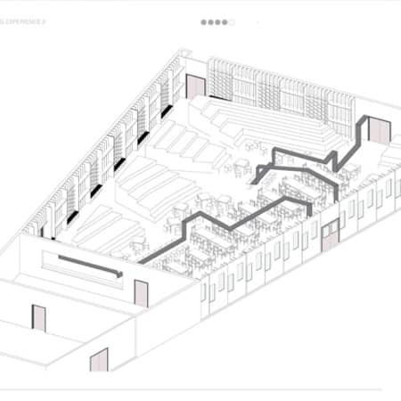 Isometric drawing of design proposal for new canteen.