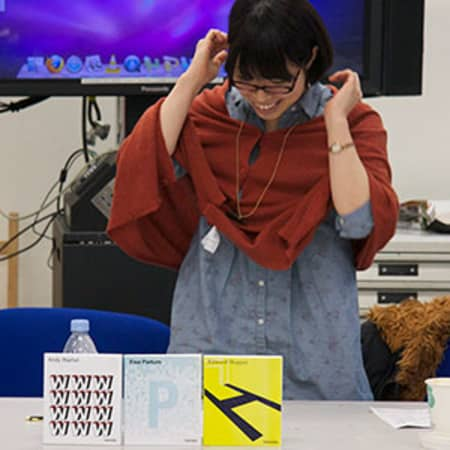 GDPC student Yu Shichiji presents her typographically driven artist book cover series Image © Bobby Gunthorpe