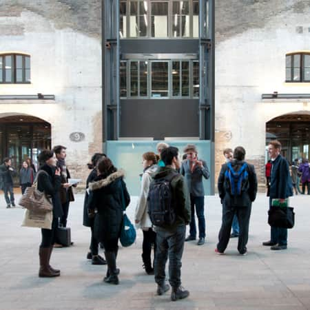 Image of students in the Crossing at Central Saint Martins