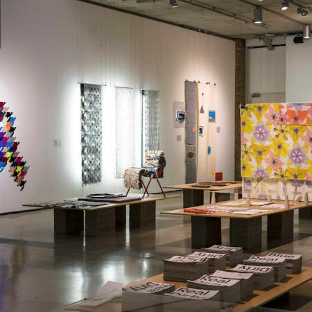 Lethaby Gallery set up for Real Dirty Blue textile design exhibition. Image by Marco Kesseler.