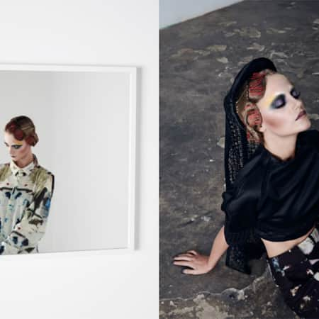 Two separate images of a model posing in highly patterned shirt and trousers, wearing a headpiece.
