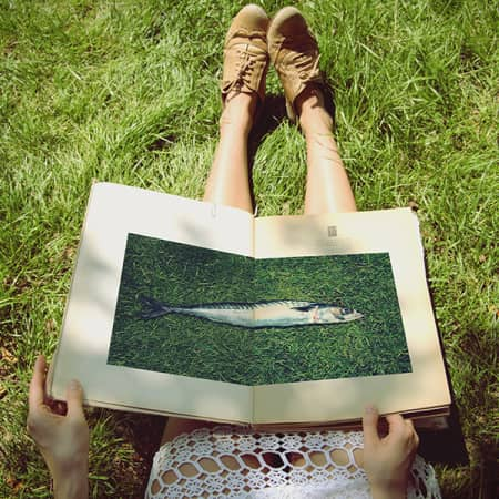 Photograph of a woman sitting on the grass with bare legs. The image is cut off at her lap, on which rests an open book with a photograph of a fish lying on grass across a double-page spread.