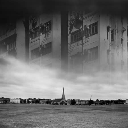 Black and white photograph of London landscape, superimposed with the image of Hong Kong buildings, credit Kai Chun Chan