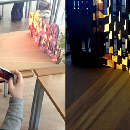 Image of students working with projection mapping, BA Design for Branded Spaces, LCC