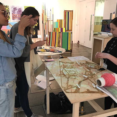 Image of students mapping a sensory walk in Elephant Park as part of London Design Festival 2017, image credit Valerie Mace