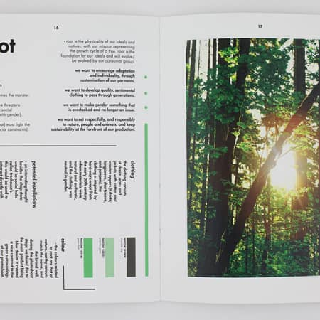 Double-page spread in a magazine, showing a branding project for Root brand. One page shows a photo of sunlight coming through trees in a forest.