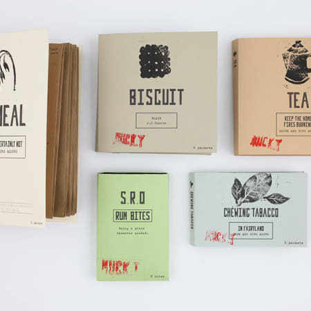 Branding project by student Thalia Lam consisting of five designs for food packaging including oatmeal, chewing tobacco, tea. Thalia uses screen printing on a pastel coloured surface.