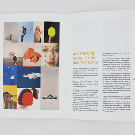 Double-page spread of a magazine showing a fashion branding project. The image is made up of multiple coloured photographs showing coloured dots covering faces and bodies.